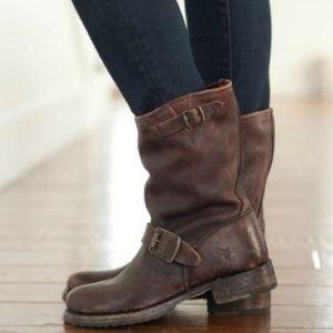 Frye Veronica Short Brown Moto Boot